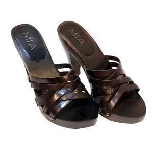 """Mia """"Extravagant"""" Brown Strappy Heels"""